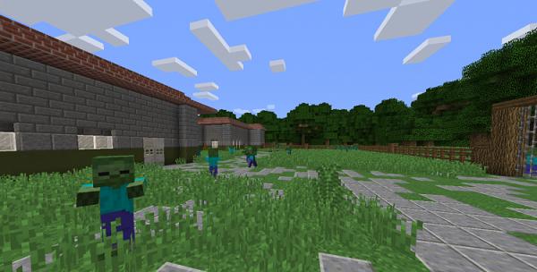 Несколько зомби около кирпичного здания